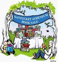 Drawing of the book sale with a table full of books