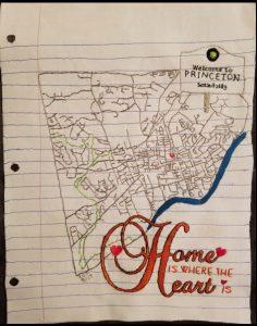 "Map of Princeton captioned ""Home is where the heart is"""