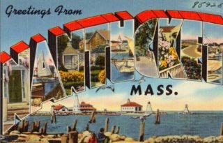 Greetings from Nantucket postcard