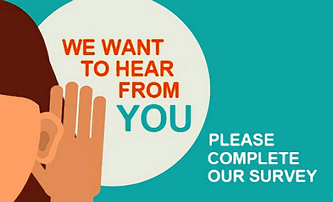 We want to hear from you, an image of a hand to ear