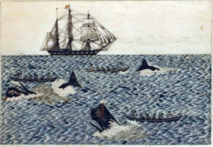 Scrimshaw of whaling scene