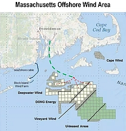 map of designated wind farm building areas in Mass.