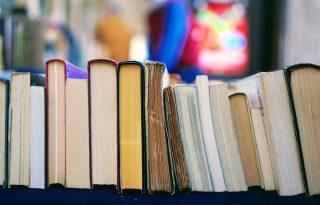 Several books shelved on edge