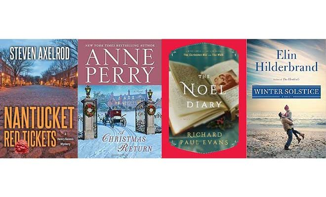 Book covers of four Nantucket holiday themed books.